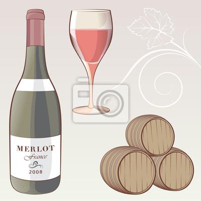 Vintage zestaw ilustracji do wina
