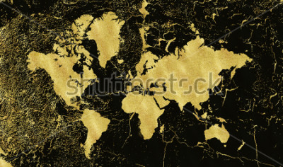 Fototapeta Vintage złota mapa na czarnym tle. Nosić tekstury, grunge, złota patyna. Szablon do karty, zaproszenie na ślub, plakaty, blogi, strony internetowej i więcej