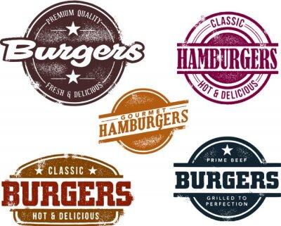 Fototapeta Vintage Znaczki Burger