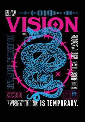 Fototapeta Vision t-shirt print design with snake for t-shirt graphics, banner, fashion prints, slogan tees, stickers, flyer, posters and other creative uses