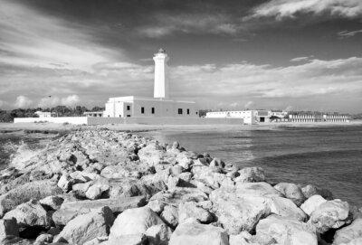 Fototapeta Vista del Faro di San Cataldo - bianco e nero