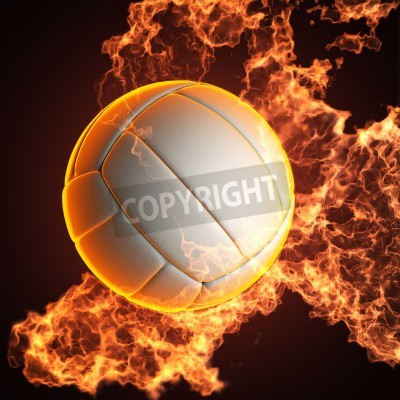 Fototapeta Volleyball ball in fire made in 3D