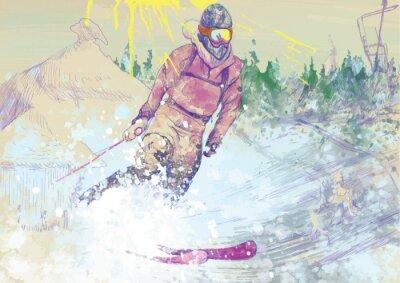 Fototapeta w dół wzgórza narciarz - rysunek odręczny konwertowane do wektora