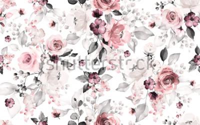 Fototapeta W modelu z kwiatami i liśćmi. Ręcznie tło. kwiatowy wzór tapety lub tkaniny. Kwiat róży. Płytka Botaniczna.