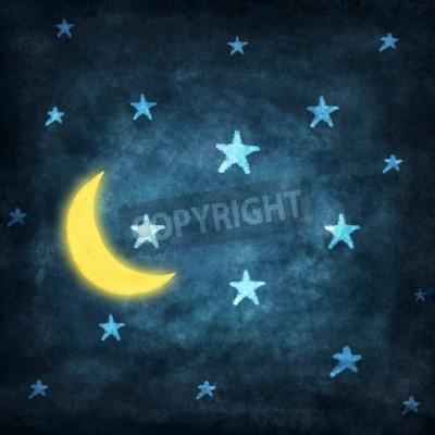 Fototapeta w nocy z gwiazd i księżyca rysunek kredą