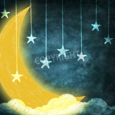 Fototapeta w nocy z gwiazd i księżyca rysunku