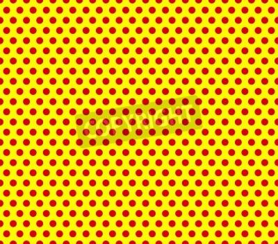 Fototapeta W stylu pop-art powtarzalnych czerwone kropki na żółtym tle.