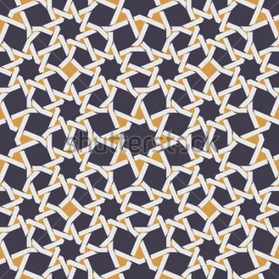 Fototapeta W wariancie Islamska gwiazdy linia w Żółtym I Błękitnym Geometrycznym Deseniowym serwisu