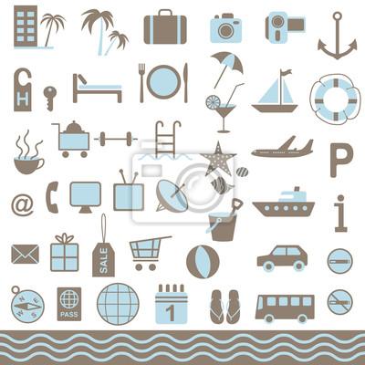 Wakacje letnie zestaw ikon