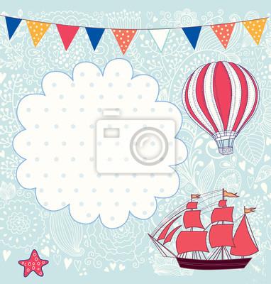Wakacje wektor karty z żaglówką i balon