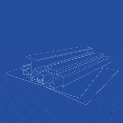 Fototapeta Walcowane produkty metalowe. Wektorowy rendering 3d. Styl ramek drucianych. Warstwy widocznych i niewidocznych linii są rozdzielone