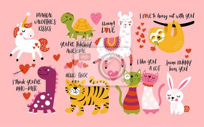 Fototapeta Walentynki słodkie zwierzęta z lamą, lenistwem, jednorożcem, kotami, dinozaurami, króliczkiem, tygrysem i żółwiem.