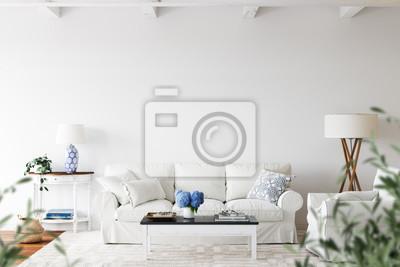 Fototapeta Wall mockup. Coastal Scandinavian interior style. 3d rendering, 3d illustration