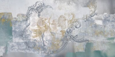 Fototapeta Wall mural, wallpaper, in the style of classic, baroque, modern, rococo. Wall mural with birds and concrete grunge background. Light, delicate photo wallpaper design.