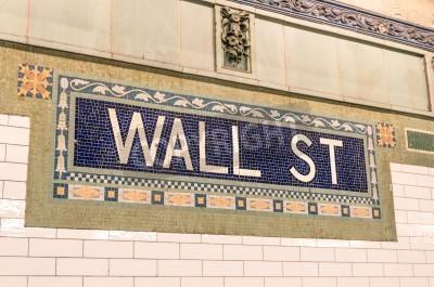 Fototapeta Wall Street metra mozaiki znak - Nowy Jork pod ziemią