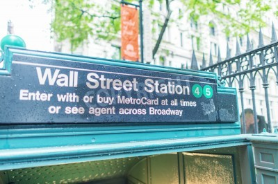 Fototapeta Wall Street stacji metra wejście.