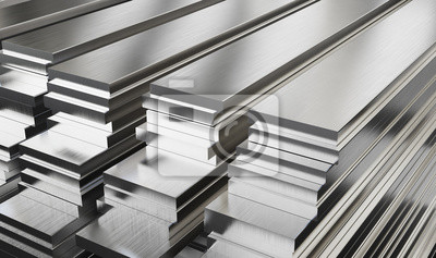 Fototapeta Warehouse of steel plates. Rolled metal products.