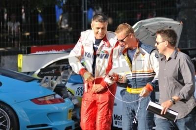 Fototapeta Warsaw, Poland - August 21, 2010 - Rally drivers - Krzysztof Holowczyc and Guerlain Chicherit, at the Verva Street Race.