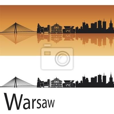 Fototapeta Warsaw skyline w pomarańczowym tle