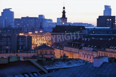 Fototapeta Warszawa, architektura Polska o zachodzie słońca