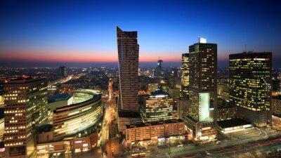 Fototapeta Warszawa Centrum o zachodzie słońca