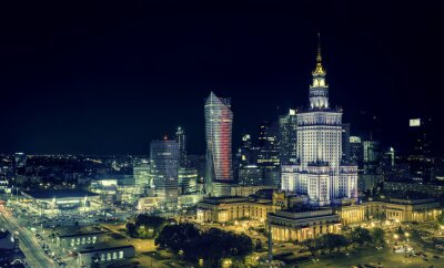 Fototapeta Warszawa downtown w nocy
