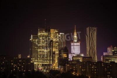 Fototapeta Warszawa downtown w nocy, Polska