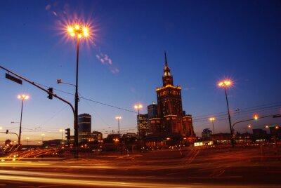 Fototapeta Warszawa nocą (Pałac Kultury i Nauki)