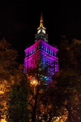 Fototapeta Warszawa Pałac Kultury i Nauki w nocy
