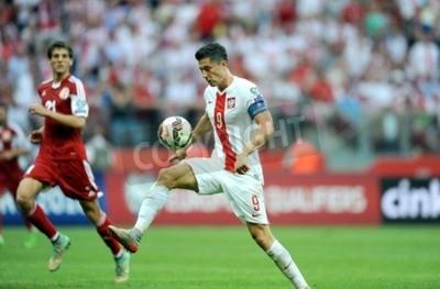 Fototapeta WARSZAWA, POLSKA - 17 czerwca 2015: EURO 2016 EURO France Football Cup Kwalifikacje Szkocja vs Gruzja O / P Robert Lewandowski