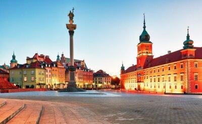 Fototapeta Warszawa, Rynek Starego Miasta w nocy, w Polsce, nikt