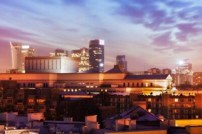 Fototapeta Warszawa Skyline o zmierzchu