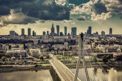 Fototapeta Warszawa skyline za mostem rocznika zdaniem, Polska