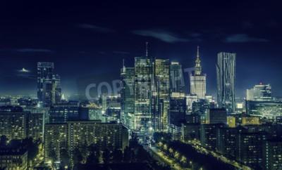 Fototapeta Warszawa Śródmieście w nocy, Polska