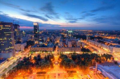 Fototapeta Warszawa wieczorna panorama miasta