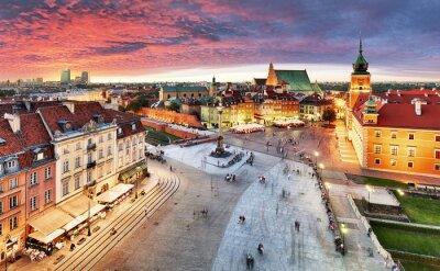 Fototapeta Warszawa, Zamek Królewski i Stare Miasto o zachodzie słońca, Polska