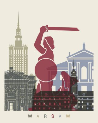 Fototapeta Warszawski skyline plakat