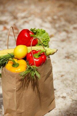 Fototapeta Warzywa ekologiczne bio pieprz Sałatka z kukurydzy