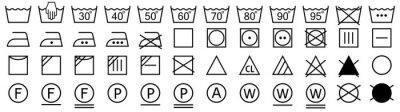 Fototapeta Washing symbols set. Laundry icons. Vector illustration