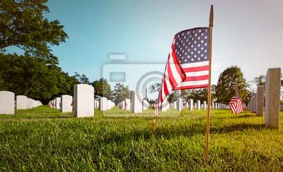 Fototapeta Waszyngton Narodowy Cmentarz w Arlington na Memorial Day. Ground Level perspektywa z flagą.