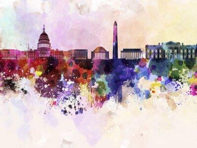Fototapeta Waszyngton skyline w akwarela