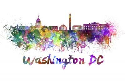 Fototapeta Waszyngton skyline w akwareli
