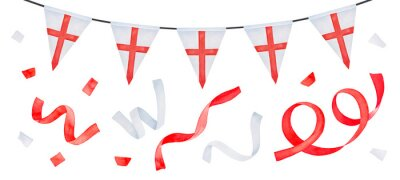 Fototapeta Water color illustration set of festive garland with triangular flag with St. George's Cross and various flying ribbons. Hand painted watercolour drawing, cutout clip art elements for creative design.