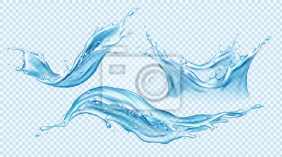Fototapeta Water splash set. Aqua liquid in shape of crown and dynamic motion elements with spray droplets side view isolated on transparent background, hydration ad. Realistic 3d vector Illustration, clip art