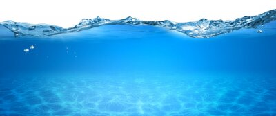 Fototapeta water wave underwater blue ocean swimming pool wide panorama background sandy sea bottom isolated white background