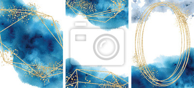 Fototapeta Watercolor abstract aquamarine, background, watercolour blue and gold texture Vector illustration