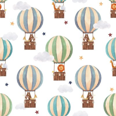 Fototapeta Watercolor air baloon pattern