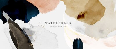Fototapeta Watercolor art background vector. Wallpaper design with paint brush and gold line art. Earth tone blue, pink, ivory, beige watercolor Illustration for prints, wall art, cover and invitation cards.