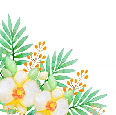 Fototapeta Watercolor background with yellow orchids