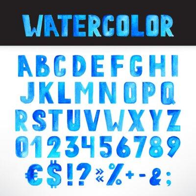 Fototapeta Watercolor blue alphabet